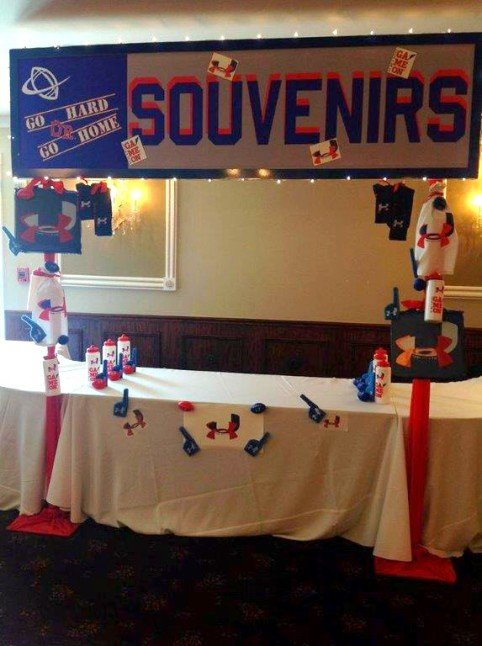 Football Bar Mitzvah custom logo Souvernir Stand for Party Favors | X-Quisite Flowers & Events