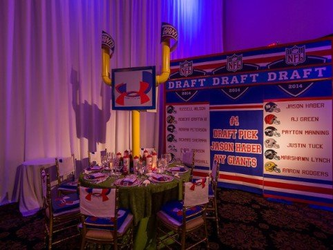 Goal Post centerpieces and draft pick board | Football Themed Bar Mitzvah | X-Quisite Flowers & Events