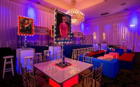 Red and Blue themed Football Bar Mitzvah custom printed light up signs and lighting | X-Quisite Flowers & Events