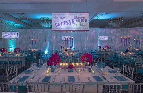 Sparkle and Glitter rhinestone centerpieces with custom lucite light boxes for a Westchester turqoise and purple Bat Mitzvah by X-Quisite Flowers & Events