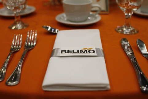 Belimo corporate logo as decor for napkin rings