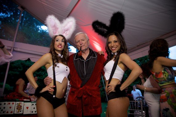 Playboy Bunnies and Hugh Hefner Lookalike