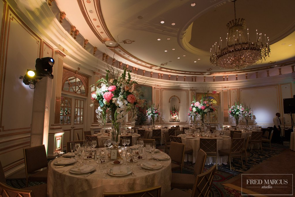 13 X-Quisite Flowers & Events Lotte New York Palace Dream Wedding Villard Ballroom lighting design and flowers