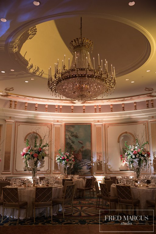 15 X-Quisite Flowers & Events Lotte New York Palace Dream Wedding Villard Ballroom lighting design chandelier