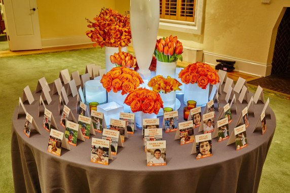 Amazing Orange Basketball Theme PArty Escort Card Table Decorations And Flowers  Westchester NY