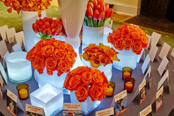 Orange Basketball Theme PArty Escort Card Table Decorations and flowers Westchester NY
