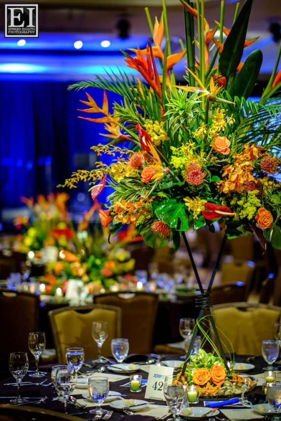 Tropical Flower Tall Centerpieces Gala Fundraiser